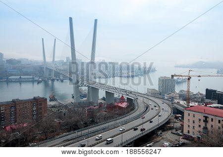 Russia Vladivostok April 8: Bridge over Golden Horn Bay