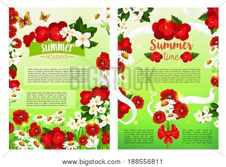 Summer Holidays posters set of flourish flowers and blooming red begonia or daisy and jasmine blossoms in white flowery ribbon. Vector summertime butterfly on poppy flower bouquets in green grass