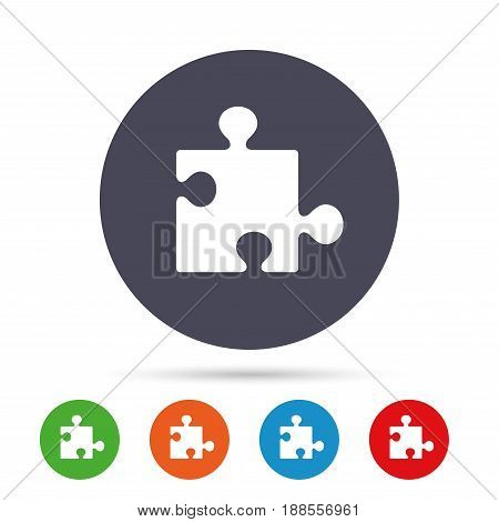 Puzzle piece sign icon. Strategy symbol. Round colourful buttons with flat icons. Vector