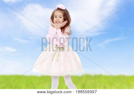 Dressy little girl long blonde hair, beautiful pink dress and a rose in her hair.She holds the palm of your hand near their cheeks.On the background of green grass and blue sky with clouds.
