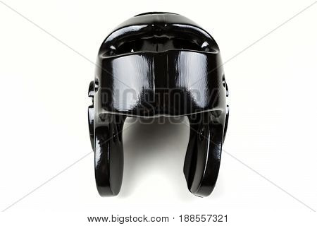 Black Sparring Helmet On A White Background