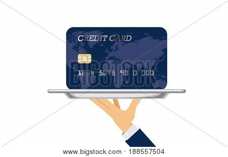 Hand of waiter holding silver tray which have a credit card paste on it. Illustration about financial with catering concept.