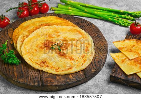 Stack Of Not Sweet Frying Flour Flatbread Paratha Roti