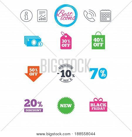 Information, report and calendar signs. Sale discounts icon. Shopping, black friday and cash money signs. 10, 20, 50 and 70 percent off. Special offer symbols. Classic simple flat web icons. Vector