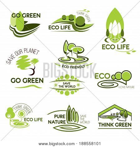Go green and ecology icons set. Vector isolated symbols of nature forest trees and parks or gardens with woodlands and parklands or green leaf for save planet concept
