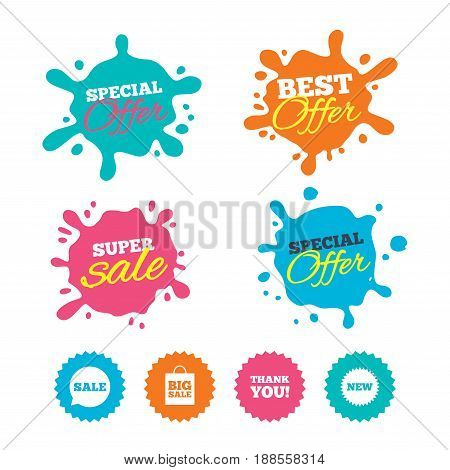 Best offer and sale splash banners. Sale speech bubble icon. Thank you symbol. New star circle sign. Big sale shopping bag. Web shopping labels. Vector