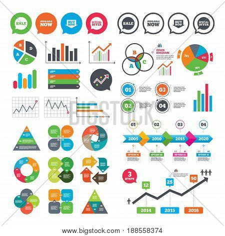 Business charts. Growth graph. Sale icons. Special offer speech bubbles symbols. Buy now arrow shopping signs. Available now. Market report presentation. Vector