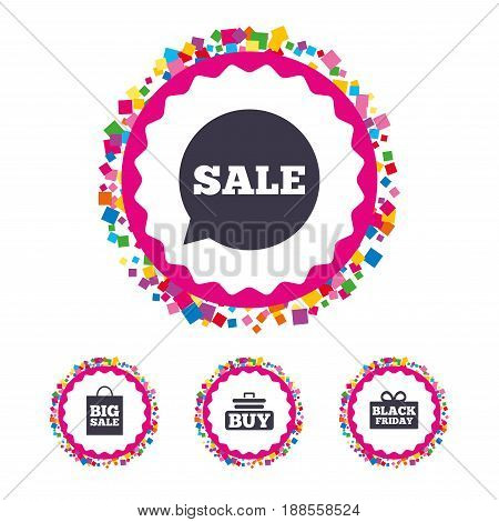 Web buttons with confetti pieces. Sale speech bubble icons. Buy cart symbols. Black friday gift box signs. Big sale shopping bag. Bright stylish design. Vector