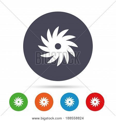 Saw circular wheel sign icon. Cutting blade symbol. Round colourful buttons with flat icons. Vector