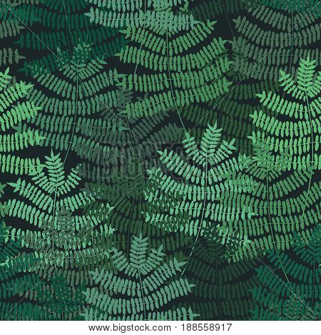 Fern motif nand drawn pattern. Green forest. Seamless pattern. Vector background with botanical motif.