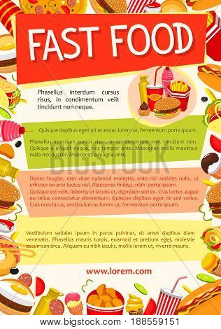 Fast food poster for restaurant or cafe. Vector design template of burgers and hot dogs or burrito sandwiches, fastfood dessert cakes and ice cream, pizza or french fries or donuts