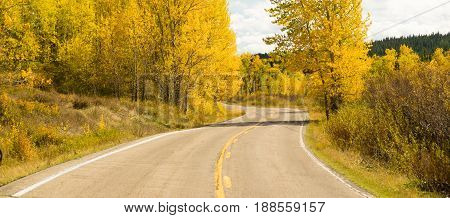 A well worn two lane road leads around a bend Autumn season fall color