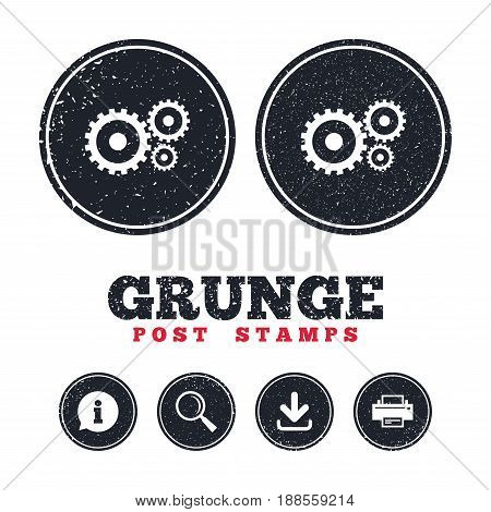 Grunge post stamps. Cog settings sign icon. Cogwheel gear mechanism symbol. Information, download and printer signs. Aged texture web buttons. Vector