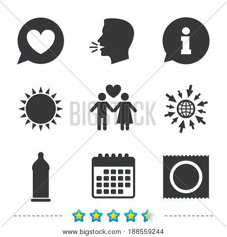 Condom safe sex icons. Lovers couple signs. Male love female. Speech bubble with heart. Information, go to web and calendar icons. Sun and loud speak symbol. Vector