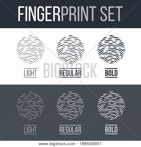 Abstract Fingerprint Icons Set Sci-Fi Future Identification Authorization System on Dark and White Background for Design