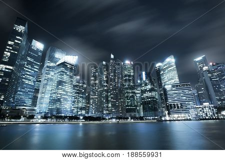 Modern City Skyline In Singapore Marina Bay