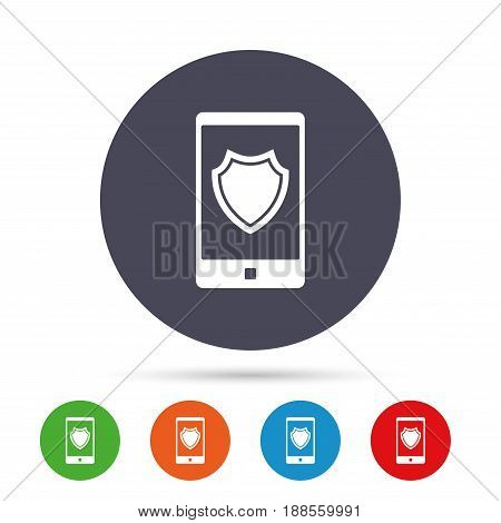 Smartphone protection sign icon. Shield symbol. Round colourful buttons with flat icons. Vector