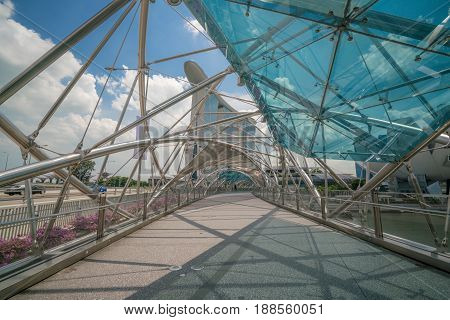 Helix Bridge In Marina Bay, Singapore