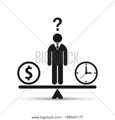 Businessman chooses between time or money time is money concept. Balancing Time and Money. Vector illustration.