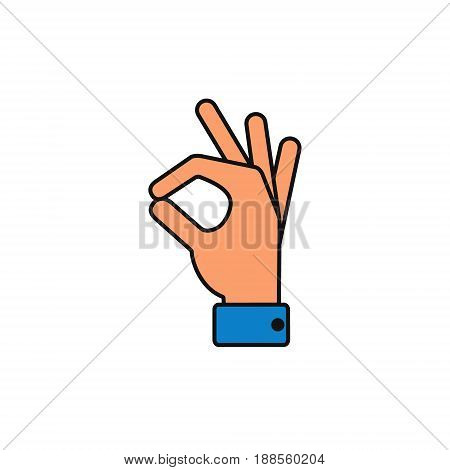 Okay icon hand Vector ok symbol isolated positive color sign.
