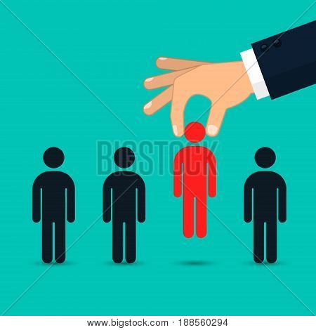 Choosing the best candidate for job concept. Hand picking up a businessman Vector business illustration.