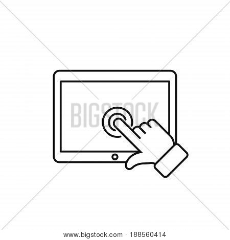 Tab touch screen with finger outline icon vector isolated simple symbol.