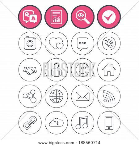 Question and answer, check tick and report signs. Social media icons. Speech bubble, lovers relationships and human person. Rss, share and mail envelope. Musical note, smartphone and smile. Vector
