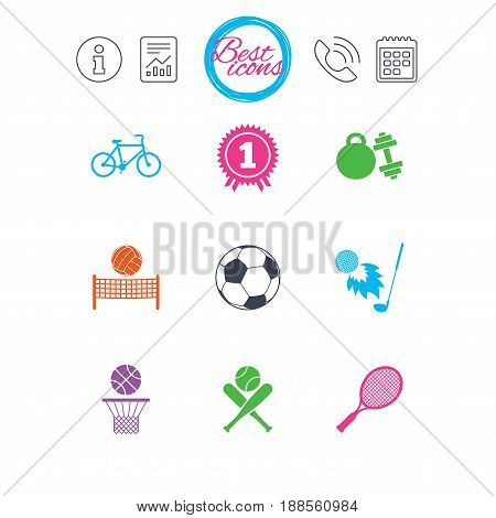 Information, report and calendar signs. Sport games, fitness icons. Football, basketball and tennis signs. Golf, bike and winner medal symbols. Classic simple flat web icons. Vector