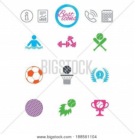 Information, report and calendar signs. Sport games, fitness icons. Football, basketball and baseball signs. Swimming, fireball and winner cup symbols. Classic simple flat web icons. Vector