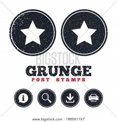 Grunge post stamps. Star sign icon. Favorite button. Navigation symbol. Information, download and printer signs. Aged texture web buttons. Vector