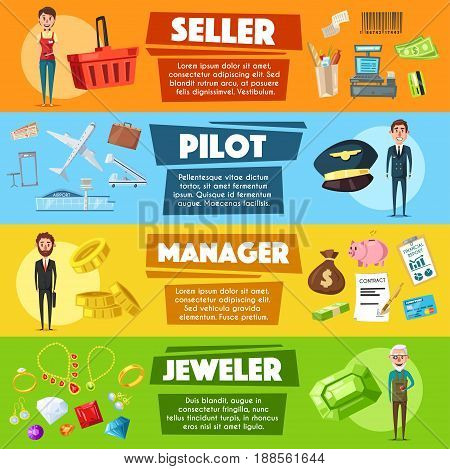 Pilot, jeweler and seller manager professions banners set. Vector design of shopping grocery cart, jewelry gemstones and bijou, airplane tickets or airport, money contract or credit card in piggy bank