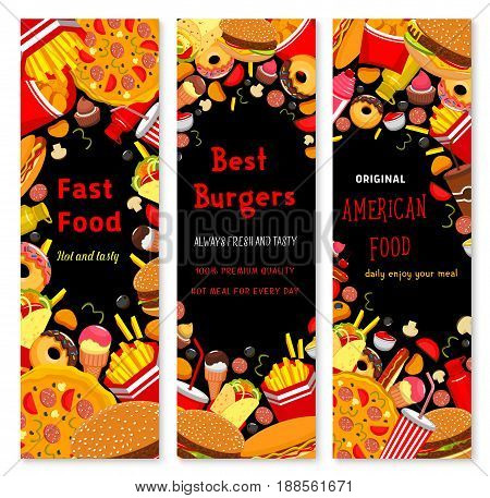 Fast food banners set of cheeseburger sandwich, burger or hot dog and french fries or chicken legs and wings snacks, pizza and popcorn or ice cream dessert and drinks for fastfood restaurant menu
