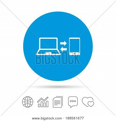 Synchronization sign icon. Notebook with smartphone sync symbol. Data exchange. Copy files, chat speech bubble and chart web icons. Vector