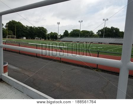 view of football field and track from wheelchair seating