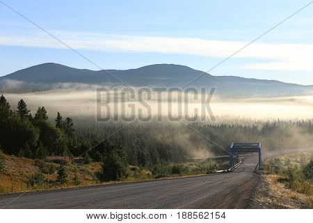 Early in the morning on the alaska highway