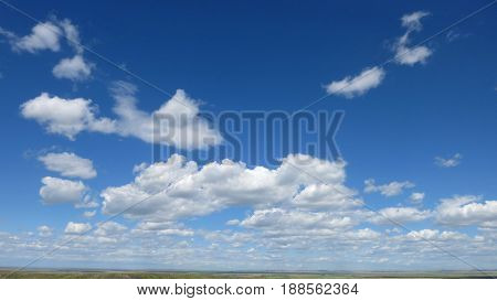 blue sky above the prairie, manitoba canada
