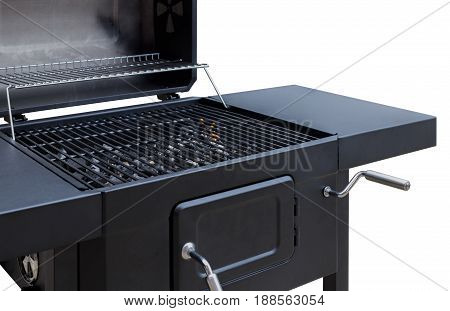 Grill BBQ fire charcoal barbecue closeup. Roaster grate for cooking outdoor. Isolated on white background