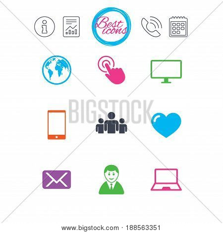 Information, report and calendar signs. Web, mobile devices icons. Share, mail and like signs. Laptop, phone and monitor symbols. Classic simple flat web icons. Vector