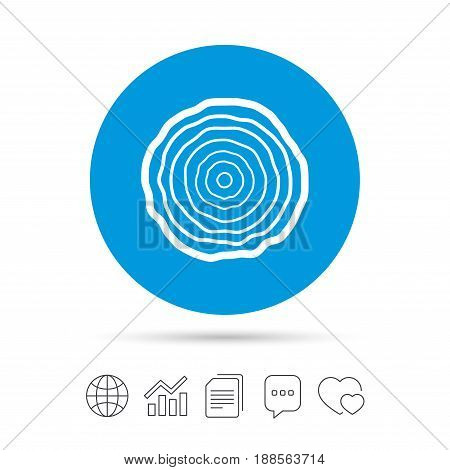Wood sign icon. Tree growth rings. Tree trunk cross-section. Copy files, chat speech bubble and chart web icons. Vector