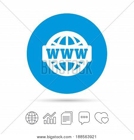 WWW sign icon. World wide web symbol. Globe. Copy files, chat speech bubble and chart web icons. Vector