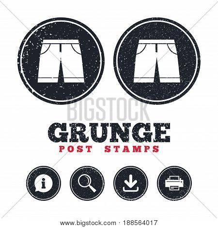 Grunge post stamps. Men's Bermuda shorts sign icon. Clothing symbol. Information, download and printer signs. Aged texture web buttons. Vector