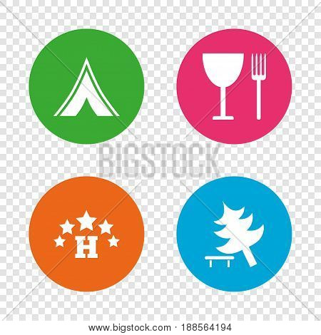 Food, hotel, camping tent and tree icons. Wineglass and fork. Break down tree. Road signs. Round buttons on transparent background. Vector