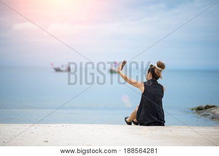 Traveler Woman Doing Selfie On Beach Summer