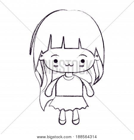 blurred thin silhouette of kawaii little girl with long hair and facial expression exhausted vector illustration