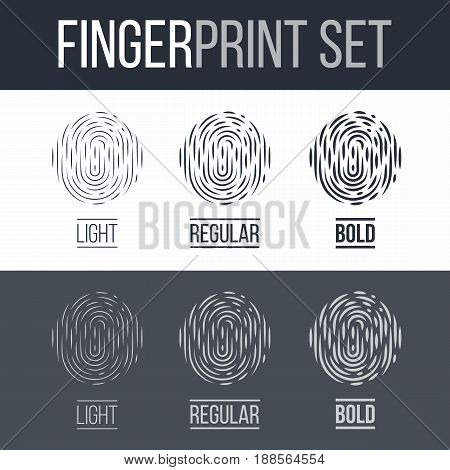 Abstract Fingerprint Icons Set Future Identification Authorization System on Dark and White Background for Design
