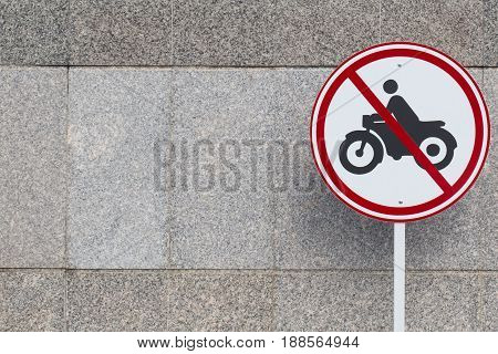 no motorcycle zone. car only road traffic warning prohibit sign.