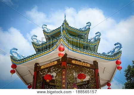 Top Of Chinese Temple In Southern Vietnam