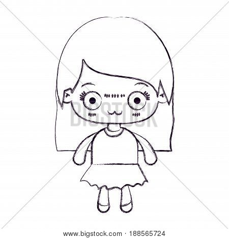 blurred thin silhouette of kawaii little girl with straight hair and facial expression depressed vector illustration