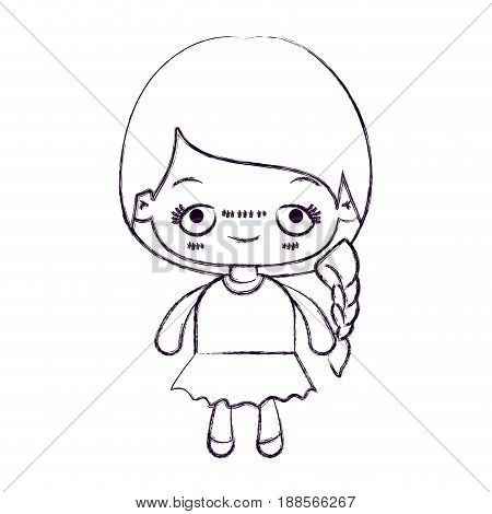 blurred thin silhouette of kawaii cute little girl with braided hair and embarrassed facial expression vector illustration