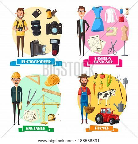 Fashion designer, engineer, photographer and farmer professions or vector work tools. Photocamera lens or flash, farm agriculture and cattle, building construction winch, scissors, thread in needle